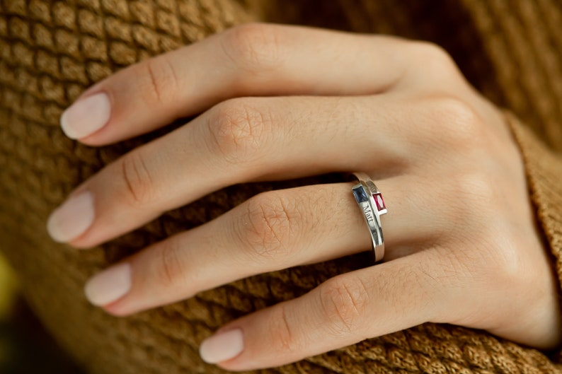 Double Baguette Sterling Silver Ring \u2022 Bypass Birthstone and Name Ring \u2022 Wrap Two Birthstones/&Two Names Ring \u2022 Stacking Twist Promise Ring
