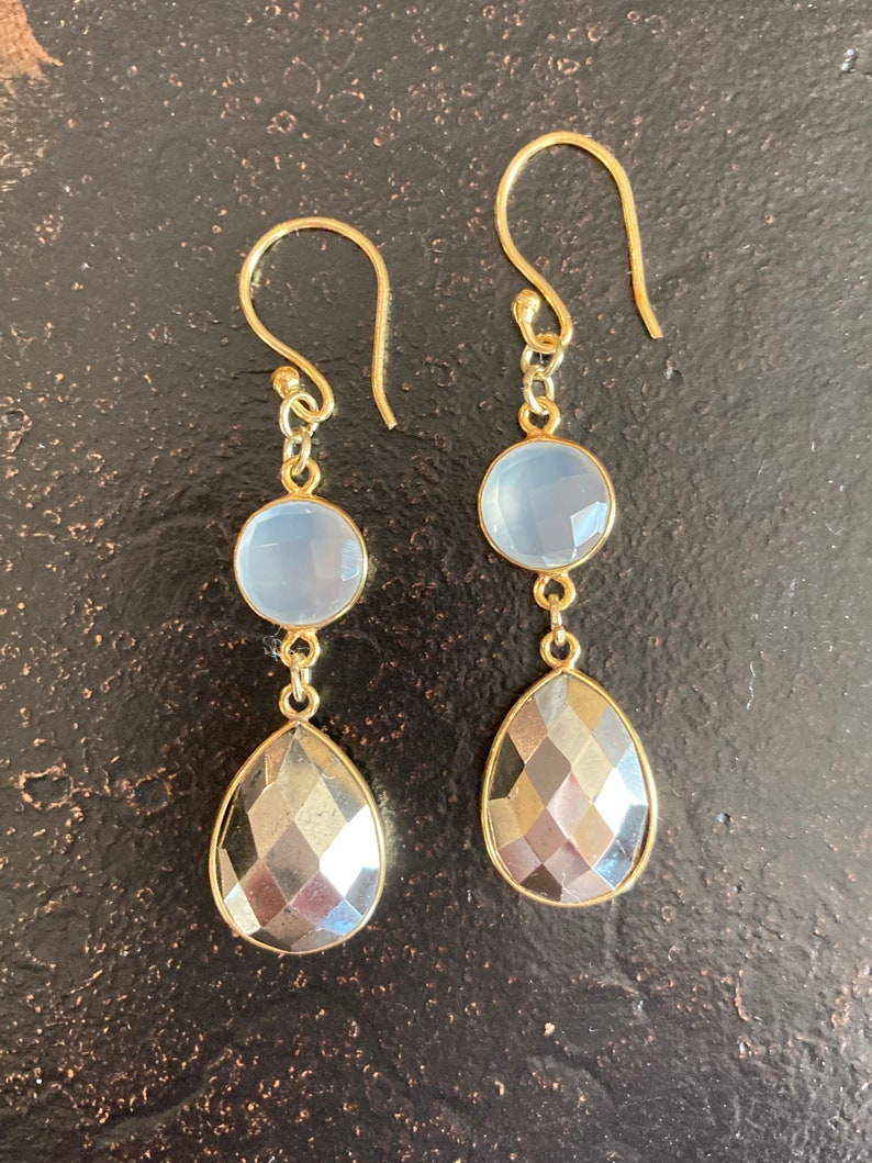 PYRITE  WHITE CHALCEDONY gem dangle earrings; bezel set; gold plated; pear pyrite stones; round white chalcedony stones; gold ear wires