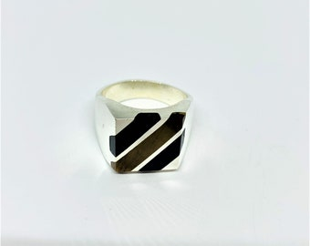 Sterling Silver Black Onyx and Tiger's eye solid ring