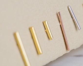 14K Gold Small Bar Earrings * Tiny Line Earrings * Gold Dainty Earrings * Silver Stud Earring * Gift for Mom * Couples Gift * Christmas Gift