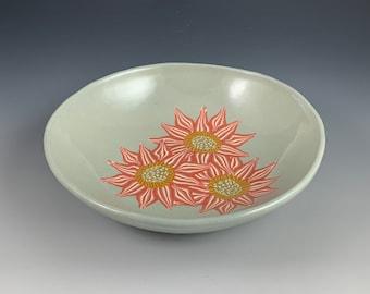 Red Sunflower Bowl, nerikomi, stoneware, colored clays, ceramic, hand built