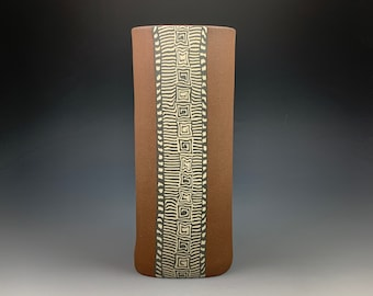 "9 1/2"" Stoneware Vase, Nerikomi, hand built, colored clays"