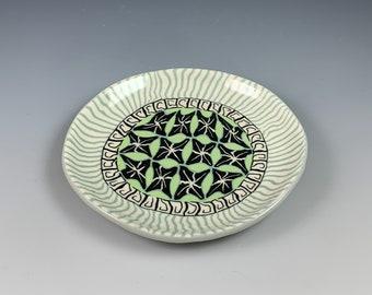Round Nerikomi plate with Greens, ceramic, stoneware, hand built, colored clays