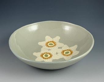 Nerikomi Anemone 3 Flower Bowl, stoneware, colored clays, ceramic, hand built