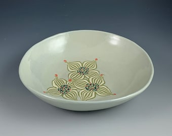 Three Flower Dogwood Bowl, Nerikomi, Handbuilt, stoneware, colored clays