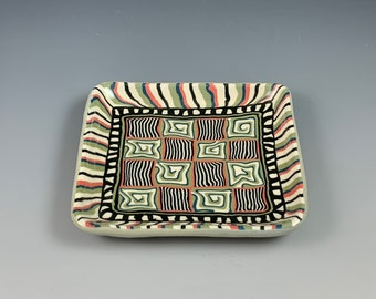 Square Nerikomi plate with Greens & Red, ceramic, stoneware, hand built, colored clays