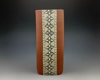 "9"" Stoneware Vase, Nerikomi, hand built, colored clays"