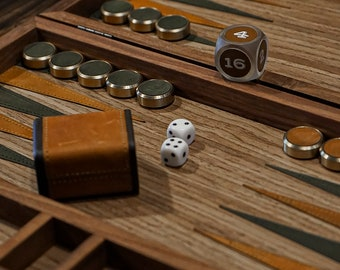 Backgammon Set, Luxury Handmade Boardgame From Wood, Waxy Leather, Brass, A Personalized Perfect Gifts