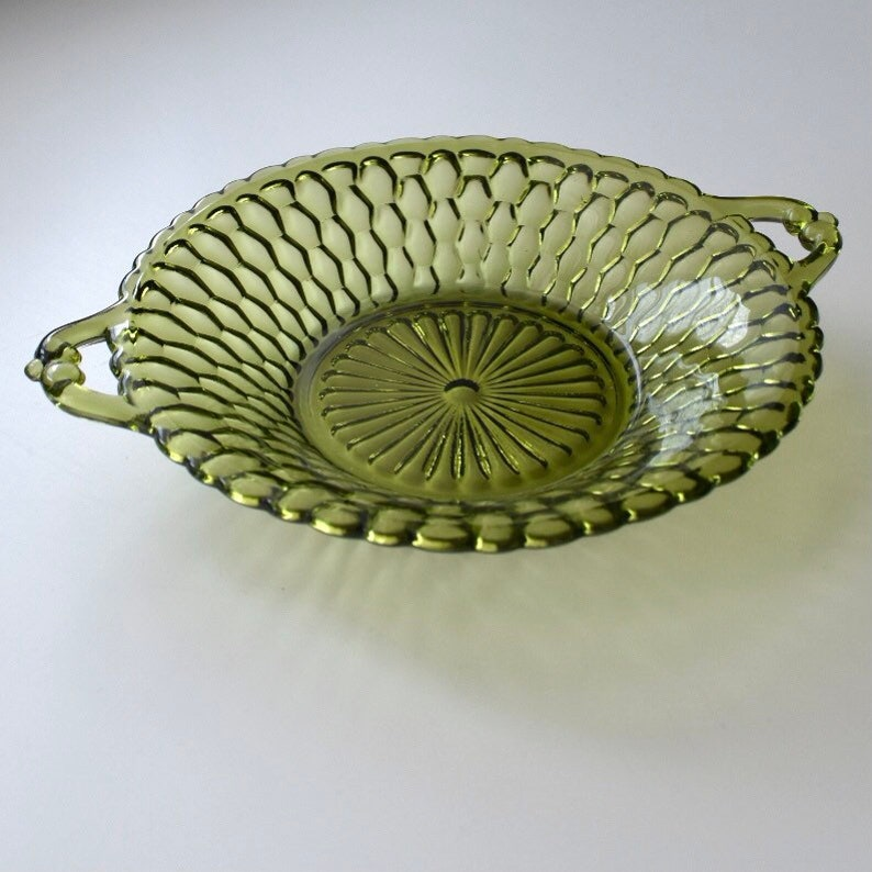 Vintage Olive Green Honeycomb Indiana Glass  Serving Dish with Handles