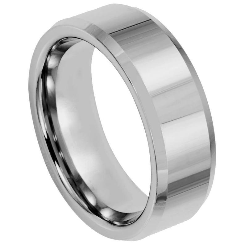 Men/'s Tungsten Ring Tungsten Band Tungsten High Polish /& Beveled Edge Men/'s Tungsten Tungsten Ring 8mm Men/'s Tungsten Wedding Band
