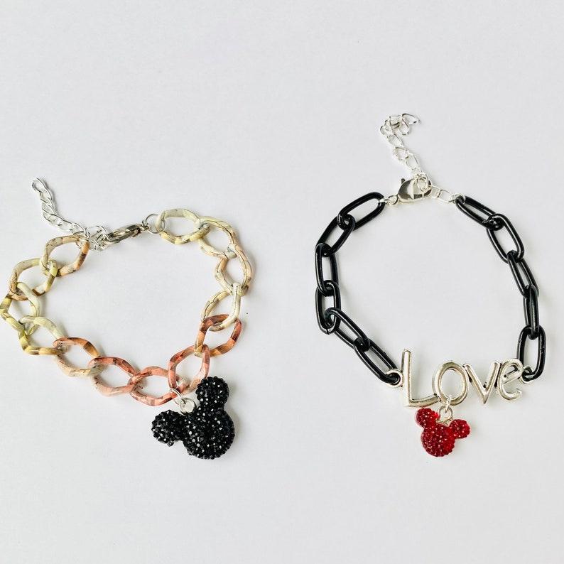 Disney inspired bracelet Disney bracelet. Mickey inspired thick chain charm bracelet Mickey bracelet
