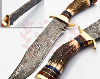 10 inch Handmade Damascus Steel Hunting knife Handle Deer Antler W leather Cover Handle Clip shape could be different than in the picture.