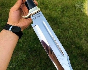 Custom Handmade D2/c430 Tool Steel High Polish Crocodile Dundee Bowie knife Rambo knife handmade knife fathers day gift with leather cover