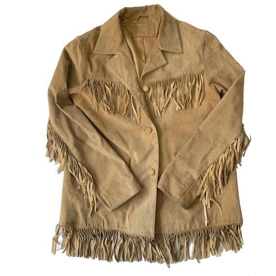 Vintage Tan Suede Fringe Jacket