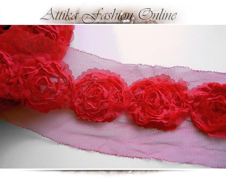 Rose Red Chiffon Mesh Lace TRIM \u00d7 1y 16 Large Flower Applique Motifs Scallop Ends \u2013 VERY WIDE 9cm \u2013 hat purse bag costume floral decoration
