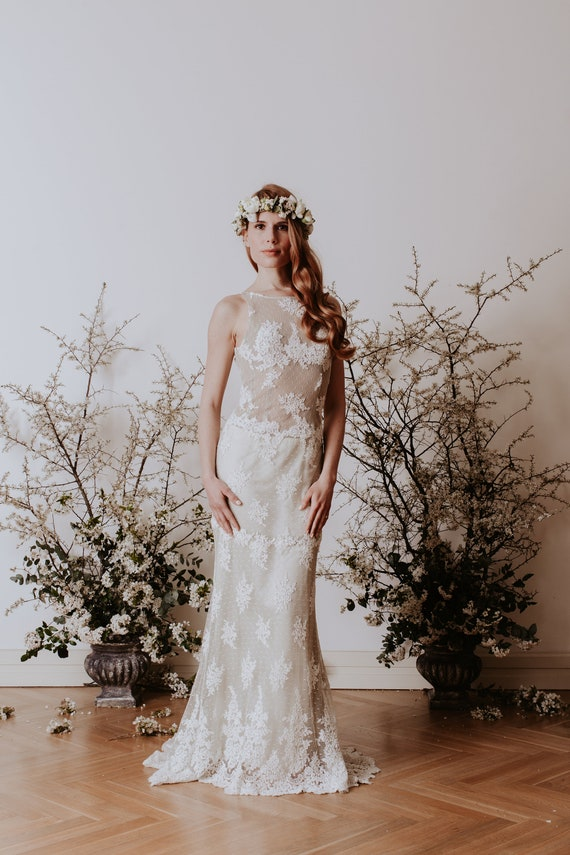 Vintage wedding dress, with green tulle