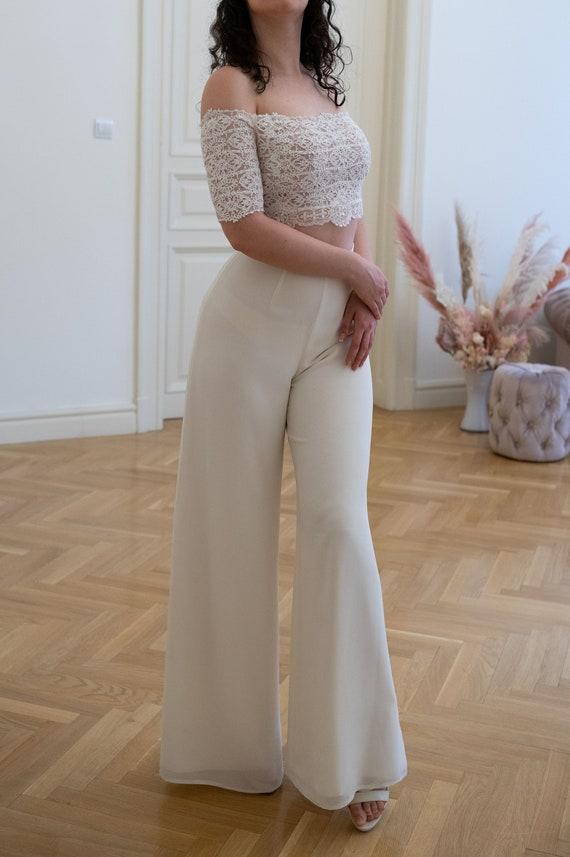 Ivory Palazzo Pants, Vintage palazzo pants, bridal