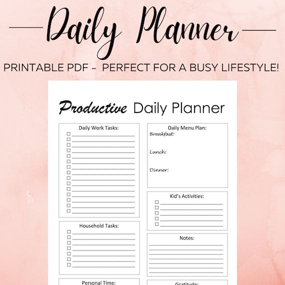 Daily Planner Printable Daily Planning Schedule To-Do List