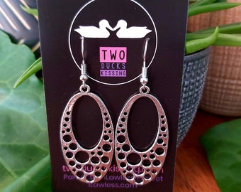 Contemporary Tibetan Silver Geometric Dangle Earrings for Her! FREE Standard Post - Australian Made by Seller and In Stock