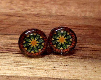 Patterned glass stud earrings for her. Contemporary designs. Australian Seller. Free postage