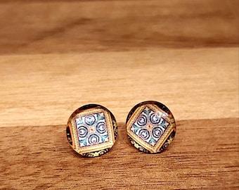Colourful patterned glass earrings for her! Australian seller. Free postage