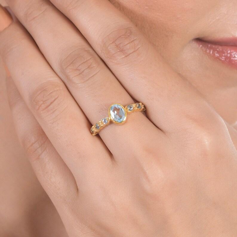 Blue Topaz 18K Gold Filled Sterling Silver Ring