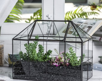 NCYP Glass Geometric Terrarium Tin-Sealed Brass Black House Shape Container with Grid and Swing Lid