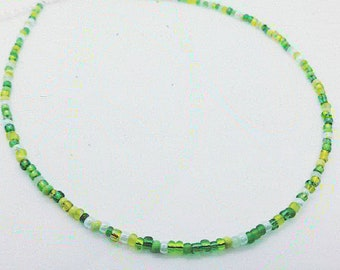 Green beaded necklace. Seed bead Mixed glass beads in assorted green hues. Emerald, mint, racing, lime green necklace .