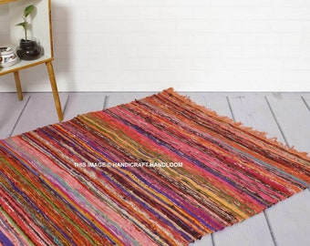 Area Rag Bohemian Indian Carpet Home Decor Large Chindi Rug Floor Decor Handmade Living Room Rug Rag 5X7 Foot Colorful Chindi Rug Rags