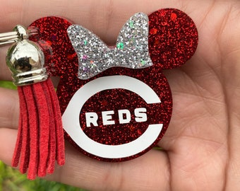 Cincinnati Reds Baseball Button Charm Badge Reel
