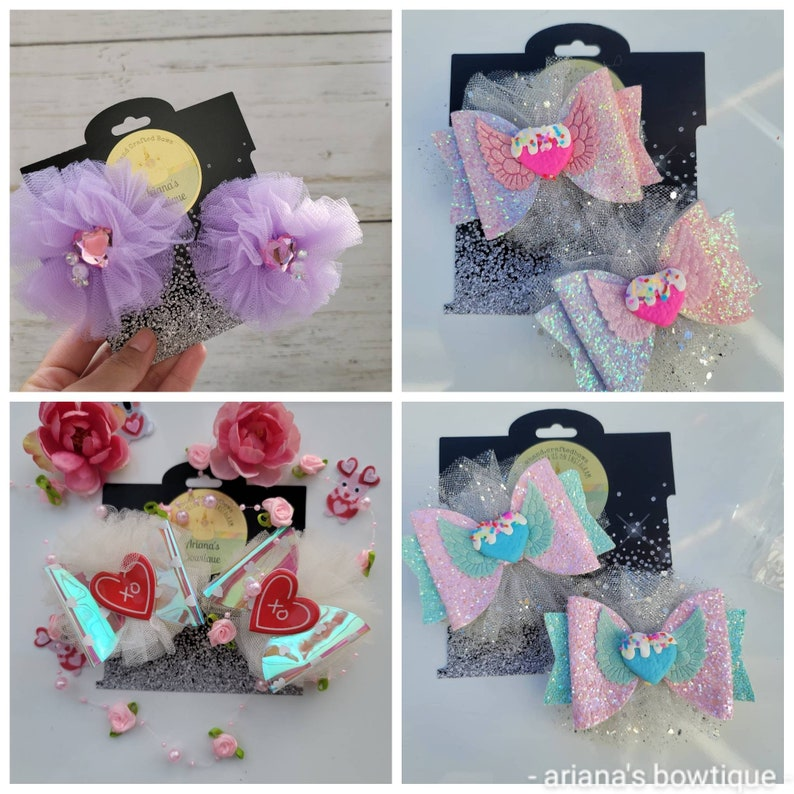 bows for baby girls tulle glitter tulle bows candy heart valentine/'s day bows silver tulle and glitter piggie tale hair bows