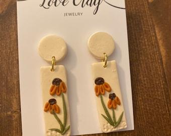 Small sunflower earrings