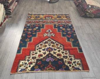 Vintage rug 2.5 x 5 ft Kitchenrug Handmade rug Oriental rug Faded orange rug Turkish area rug Bedroom rug Rug Natural rug MB10689