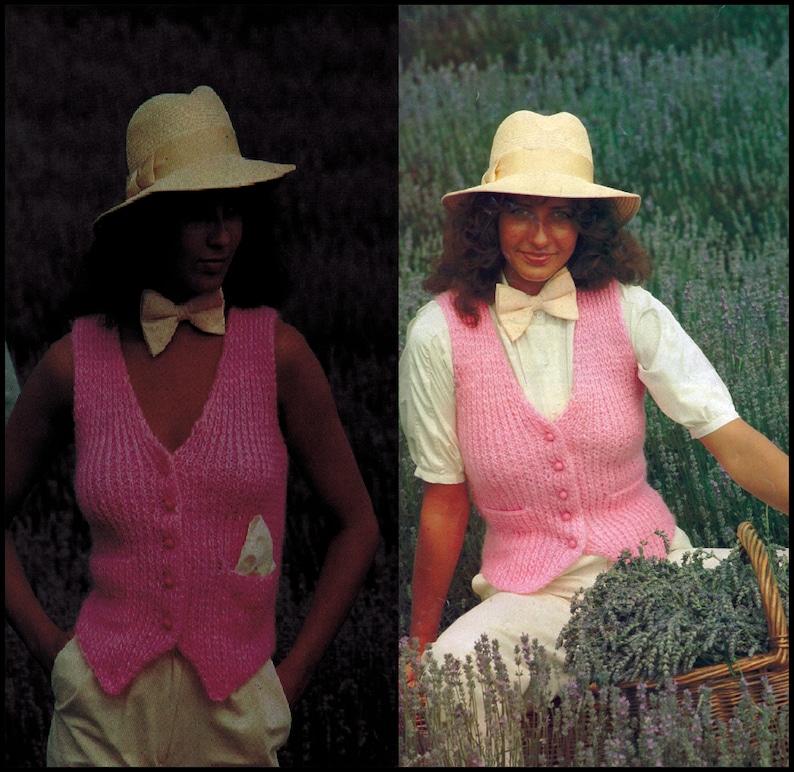 1980s. Knitted Waistcoat Pattern Mens /& Womans Pattern Digital Vintage