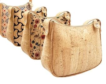 Small cork bag, bag with geometric cork prints