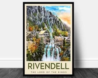 Rivendell- LOTR Inspired Travel Poster, Rivendell Poster, Travel Posters, Lord of the Rings Art Print, Lord of the Rings poster