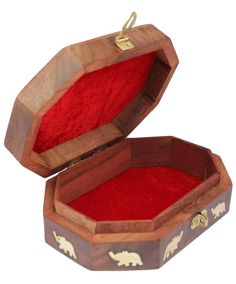 Handmade Wooden Jewellery Box Octagonal Handcrafted Elephant Brass Inlay /& Wood Carvings Fast Shipping Made In India