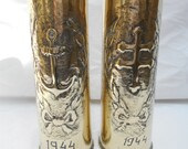 Pair of WW2 Trench Art Brass 25 Pr British Artillery Shell Casings