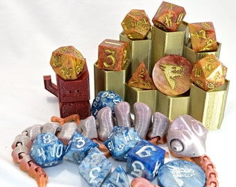Dice Set Display Stand for 7 Piece Polyhedral RPG Dice (3D Printed)