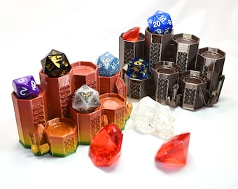 Celtic Crystal Dice Set Display Stand for 7 Piece Polyhedral Dungeons & Dragons Role Playing Game Dice (3D Printed)