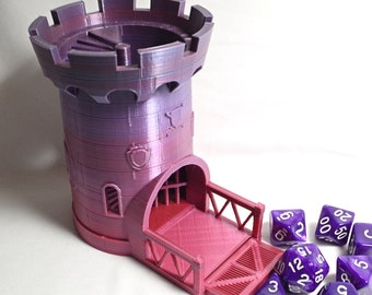 Dice Castle Rolling Tower with Movable Gate, Jail, Windows, Coat of Arms (3D Printed)
