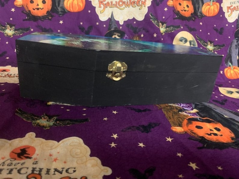 Halloween decor Dracula Wooden coffin shaped box 12 Inches horror