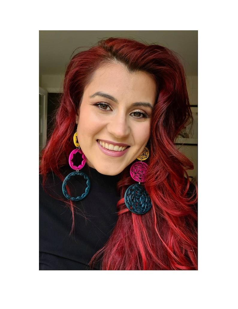 Paper quilled earrings Gift for her Contemporary quilled earrings Statement boho chic earrings Bundle Chandelier dream catcher earrings