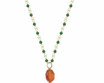 Carnelian Gemstone on Green Onyx Rosary Gold Pendant