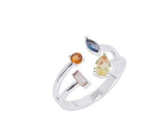 White Gold Multi Stone Adjustable Ring