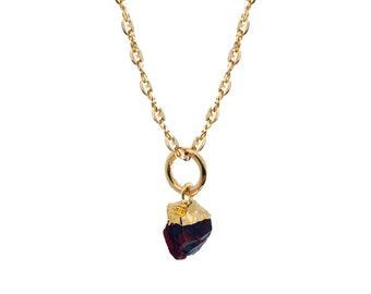 Raw Garnet Pendant on Gold Anchor Chain