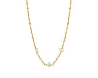 Gold Satellite Chain with Herkimer Diamonds
