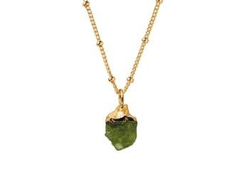 Raw Peridot Pendant on Gold Biba Chain