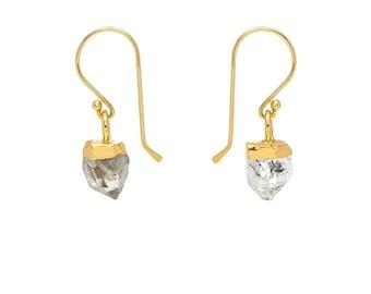 Raw Herkimer Diamond Drop Earrings