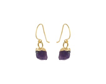 Raw Garnet and Gold Drop Earrings